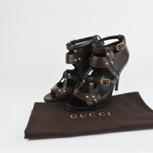 Gucci Booties Dark Brown Studded Leather